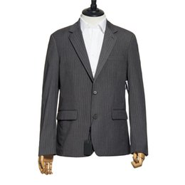 Wholesale PRESTON FIELD Brand Men Suit Jackets Vertical Stripe Two Button Formal Men Suit Jacket Blazers