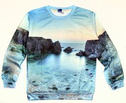 Wholesale fashion new men women s d ocean scenery reefs print beautiful landscape casual sweatshirts spring hoodies