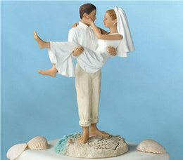 Wholesale Beach Stylish Wedding Bridal Cake Toppers White Hug Romantic Couple Decoration Best Selling