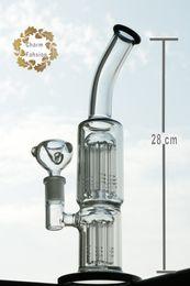 2016 crdp de verre Twin Percers Recyler Oil Rigs Bongs en verre pour le bol Tabbcal Bijoux en verre double Water Smoking Pipes Livraison gratuite crdp de verre offres