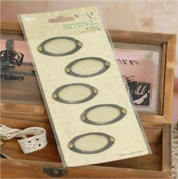 Wholesale 3 sets of metal antique brass finish oval label holders vintage metal label plates for scrapbooking file cabinet set