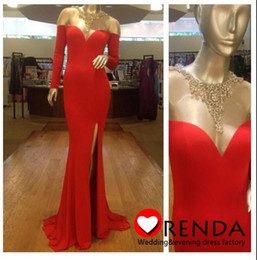 Sexy Red Mermaid Evening Dresse Off Shoulder LongProm Dresses with Side Slit Long Sleeves Court Train Formal Party Gowns