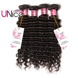 UNice Hair Brazilian Deep Wave 3 Bundles 12-26inch Hair Weaving Unprocessed 100% Human Hair Extension Mix Length Wholesale Weaves