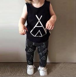 Wholesale NWT Cute Cartoon Tent Anchor Baby Girls Boys Outfits Set Summer Sets Boy Cotton Tops Harem Pants Suits Kid Checker Shirts