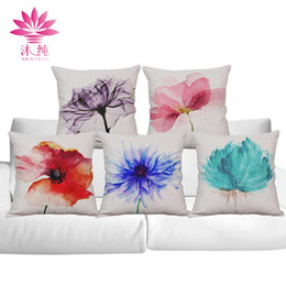 muchun Brand Christmas Pillow Case Ink-wash Flowers New Year Product 45*45cm Christmas Cotton Linen Home Textiles Sofa Throw Pillow Cover