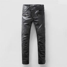 2016 new sale men's motorcycle sales trend PU leather pants new men Slim small straight men