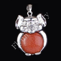 Charm Amethyst Onyx Aventurine Gold Sand Natural Stone Round Bead Mascot Pig Hog Pendant Accessories Fashion Jewelry 10Pcs