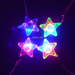 Children Kids LED Light Up Flashing Blinking Star Necklace Pendants Best Gift Children'Day High Quality Flashing Toy Festive Supplies