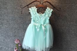 Wholesale UPS Free ship Fashion girls Lace Crochet Vest Dress new Princess Girls sleeveless crochet vest Lace dress baby party dress kids clothes