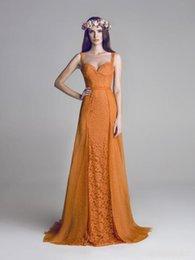 Wholesale 2015 Elegant Orange Sleeveless Backless Prom Dresses Fresh Chiffon Lace Spaghetti Strap A Line Dresses Graceful Formal Homecoming Gown HXX