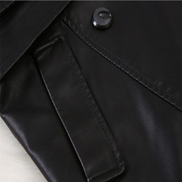 Wholesale Leather Trench Coat Women Fashion Autumn Winter Sheepskin Leather Coat Adjustable Length Models