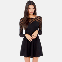 New Sexy Women Mini Dress Long Sleeve Mesh Stitching Polka Dot Sweetheart Skater Dress