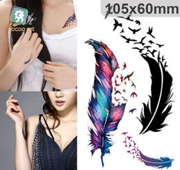 Wholesale Tattoo Sticker Waterproof fashion feather Art Tattoos Stickers Tatouage Glitter Black Temporary Tatoo Removable