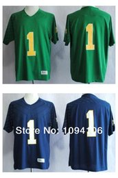 Factory Outlet- Cheap Notre Dame Fighting Irish #1 Louis Nix III Blue Green Techfit NCAA College Authentic Football Jerseys Sewn On Jersey