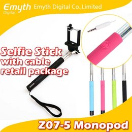 Wholesale Absolute factory price Audio cable wired Z07 S Selfie Stick Extendable Handheld Monopod and play Cable Take Pole Wired for iPhone note