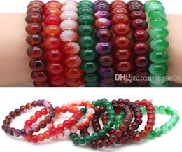 Agate beaded bracelets 2015 men women 8mm beads bracelet wristband rope strands unisex bangle cuff charm jewelry friendship gift colorful