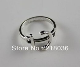 Vintage Silver 50PCS Alloy Hollow Boat Anchors Rings Women Nail Rings DIY 18mm Clothing Jewelry Gifts Wholesale Fashion Jewelry N622