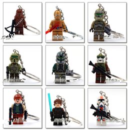 Wholesale DIY Fashion Accessories star wars Keychains toys antique copper key rings star wars lego Key buckle Airship key ring baby