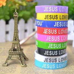 New Trendy Charms 100pcs JESUS LOVES YOU mix colors silicone Bracelet wristband Fashion Catholic Christian Religious Jewelry