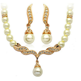 Unique Necklaces and Earring Set for Women Elegant Pearl Necklace Earring Jewelry Set Designer Jewelry for Brides 1271