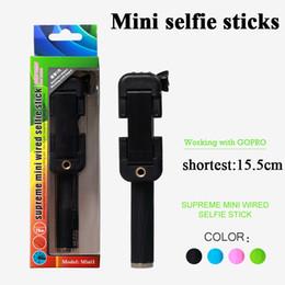 Selfie Monopods Super Mini Selfie Sticks Portable Selfie Sticks Shortest 155mm Easy to Carry 4 Colors Available Wired Foldable Selfie Sticks