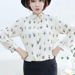 w1025 Best Seller Woman Girl Trendy Collar Owl Print Chiffon Long Sleeve Blouse Top Shirt 51019