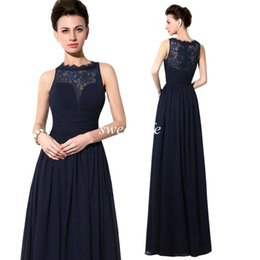 2015 Cheap Designer Mother of the Bride Groom Dresses Top Lace Sheer Neck Navy Blue Chiffon A-Line In Stock Evening Party Bridesmaid Dresses