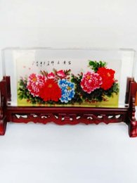 Wholesale New arrival Chinese traditional screen with square crystal painting novelty collectable artwork handicraft product