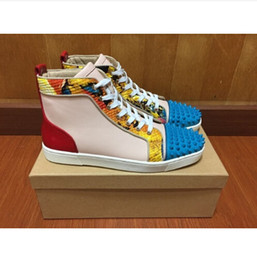 Wholesale new spell color genuine leather high top shoes fashion rivets spikes men red bottom sneakers Size35