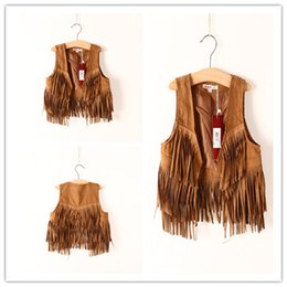Wholesale new fashion high quality Autumn sleeveless vest winter solid color Children fringed vest