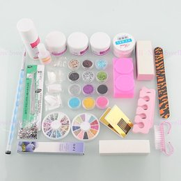 Wholesale-Bestselling Nail Art Acrylic Powder Glitter Rhinestones Brush Sanding File Tips Cuticle Oil Nail Art Kit Set