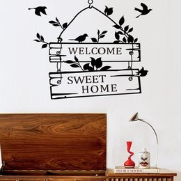 Wholesale Chalkboard Sign Wholesale - Hot New Removable Welcome Sweet Home Little Tree Sign Bedroom Living Room Decor Art Vinyl Wall Sticker