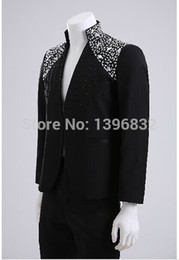 Wholesale-Free shipping mens black rhinestone beading hand sewing tuxedo suits top jacket with pants tuxedo suits