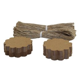 100PCS Eco-friendly Flower Design Paper Tag Kraft Paper Hang Tag with Jute Twine For Gifts Crafts Price Tags