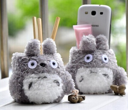 Wholesale Christmas gift Super Kawaii CM TOTORO Plush Cover DOLL Phone Stand Holder Pouch Case RACK DOLL School Desk Sundries Pen Pencil Holder BOX