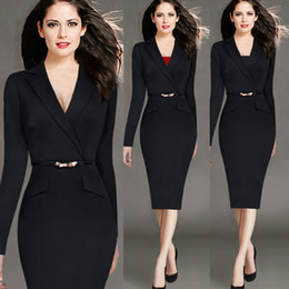 Wholesale 2016 Womens Autumn Spring New Fashion Long Sleeve Lapel Faux Wrapped V Neck Button Wear to Work Business Office Sheath Dress WI114