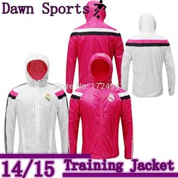 Cheap New Real Madrid Jacket 1415 champions league Training suit Long sleeve Winter hoodie jacket Dust coat white pink jacket