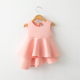 Wholesale 2016 Summer New Girls Dresses Memory Foam Cotton Thick Tiered Sundress Clothing T