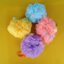 Wholesale 10pcs Bath body works exfoliating shower bath sponge Four color pink yellow blue purple loofah mesh gauze