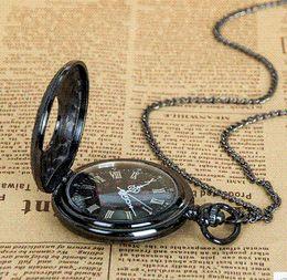 Wholesale New top sale gun black Roman numerals Vine watch Quartz Pocket Watch With Chain DIY Pendant Necklace gift