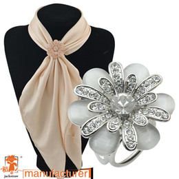 Wholesale Camellia opal double three ring chain scarves buckle A flight attendant flower brooch scarf buckle
