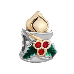 10pcs per lot Rhodium and Gold Plating Christmas Bead Green Enamel Red Crystal Rhinestone Candle Fits Pandora Bracelet