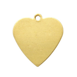 Copper Blank Stamping Tags Pendants Heart Light Golden 14.0mm x 13.0mm,100 PCs 2015 new