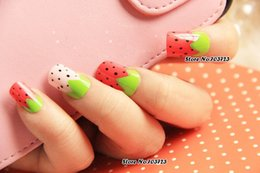 Wholesale x OL Must Acrylic French False Nail Art Tips Lady Love Straw Berry