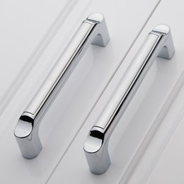 Wholesale CC size mm Zinc Alloy Cabinet Handle Cupboard Drawer Pull Bedroom Kitchen Handle Modern Furniture Pulls Bar Silver