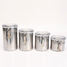 Wholesale 4 Size Metal Storage Food Bottles Sugar Tea Coffee Beans Canisters snack Cans Kitchen Container Tools