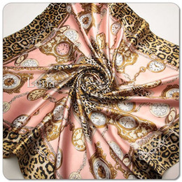 Wholesale New Arrival Women Satin Square Silk Scarf Printed For Ladies Women Brand Polyester Scarves Clock design cm S