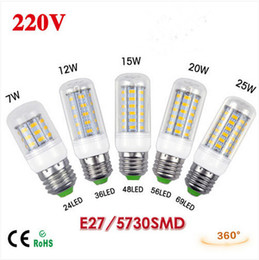 BEST Selling 1Pcs E27 LED lamp SMD 5730 220V 7W 12W 15W 20W 25W LED Corn Bulb Cool White Warm White Chandelier LED Candle Lighting Bulbs