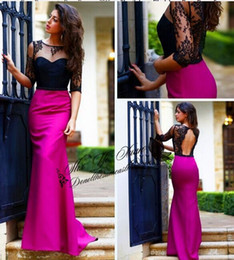 2019 Spring Evening Dresses Vintage Chiffon Sheer Floor Length Evening Gowns Half Sleeves Real Image Plus Size Long Prom Dress