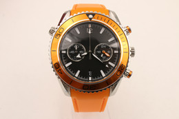 luxury brand watch men 600m ceragold Co-Axial Chronograph planet ocean quartz movement orange leather belt watches men dress wristwatches